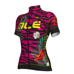 Maillot ciclismo mujer Alé corto PRR Flowers Rosa Negro