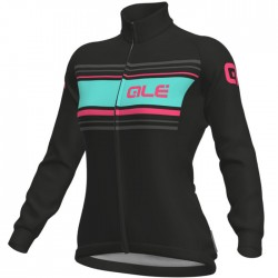 Maillot ciclismo mujer Alé Solid Sinuosa negro rosa fluo