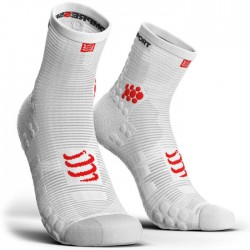 Calcetines Compressport ProRacing Socks Run high V3 Blanco
