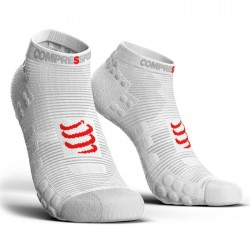 Calcetines Compressport ProRacing Socks Run low V3 Blanco
