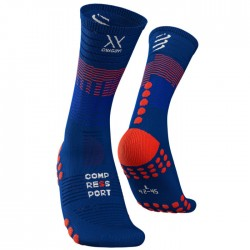 Calcetines Compressport Mid Azul y Rojo