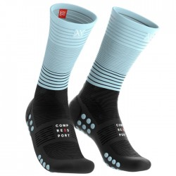 Calcetines Compressport Mid Negro y Azul