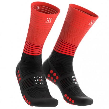 Calcetines Compressport Mid Negro y Rojo