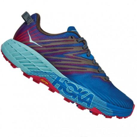 Zapatillas Hoka Speedgoat 4 Mujer Azul Rojo