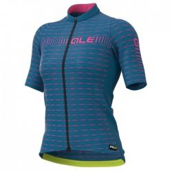 Maillot ciclismo mujer Alé corto PRR Green Road Azul Rosa