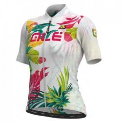 Maillot ciclismo mujer Alé corto Solid Tropika Blanco