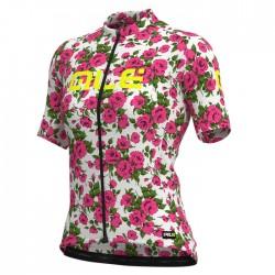 Maillot ciclismo mujer Alé corto PRR Roses Blanco Rosa