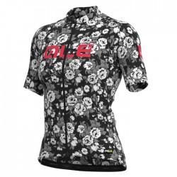 Maillot ciclismo mujer Alé corto PRR Roses Gris Blanco
