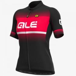Maillot ciclismo mujer Alé corto Solid Blend Negro Rojo