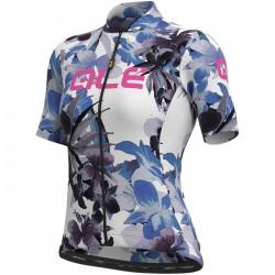 Maillot ciclismo Mujer Ale corto Solid Bouquet Blanco Azul