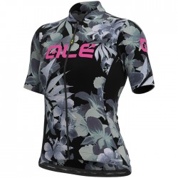 Maillot ciclismo Mujer Ale corto Solid Bouquet Negro Gris