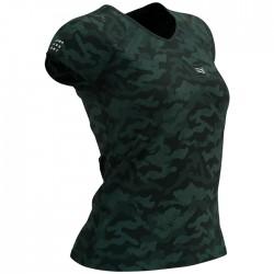 Camiseta Compressport Camo Mujer Verde Camuflaje